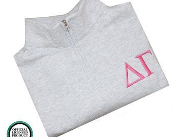 Delta Gamma Quarter Zip Pullover, Delta Gamma Cadet Jacket, DG Greek Apparel, DG Sorority Letters, Delta Gamma Greek Quarter Zip Pullover