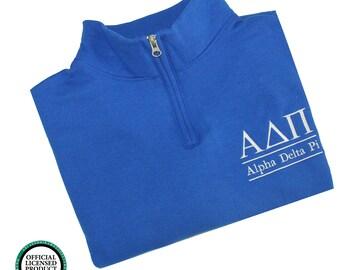 adpi alpha delta pi sweatshirt adpi sweatshirt cadet collar quarterzip greek sweatshirt adpi merchandise adpi sorority letters shirt