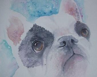 French Bulldog puppy watercolour custom painting