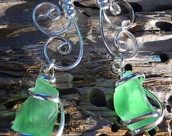 Sea foam green seaglass scroll earrings