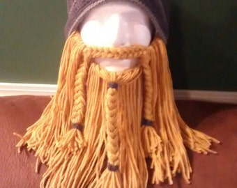 ADULT VIKING HAT - dark grey hat with blonde detachable beard - adult one size
