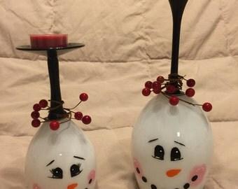 Handmade Wineglass Candle Holder--Snowman 1
