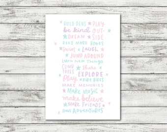 Pastel Girls Room Art Childhood Quote Baby Girl Nursery Print Baby Decor New Baby Gift Pastel Nursery Art