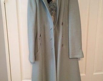 Pauline Trigere vintage light blue wool coat