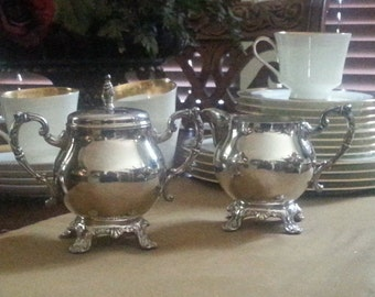 SALE. Vintage Sheridan Silverplate Creamer and Covered Sugar Bowl, Vintage Silverplate Creamer and Covered Sugar Bowl
