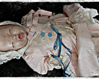 Antique 1940s Bisque Crying Baby Doll