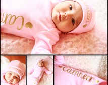 Personalized newborn girl name gown.newborn girl pink and gold.baby girl take home outfit.newborn girl hospital outfit, Hat sold separately