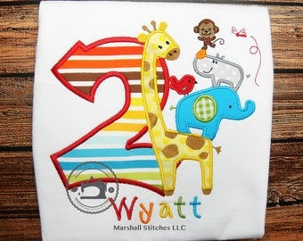 Safari Birthday Applique Shirt/ Jungle Birthday Shirt/ Zoo Birthday Shirt/ Zoo Shirt/ Safari Shirt/ Animal Birthday
