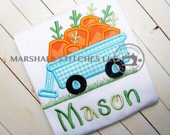 Boys Easter Shirt/ Boys Easter Applique Shirt/ Carrot Wagon Appliqué Shirt/ Carrot Shirt