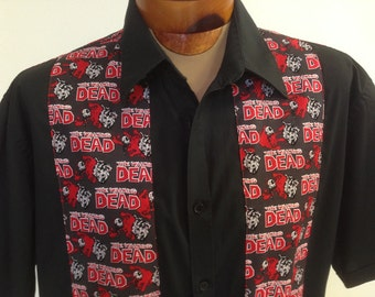 The Walking Dead Men's Shirt By Maria B. Vintage Shirt & Walking Dead Fabric. Size XL.