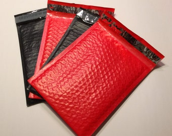 50 6x9  Bubble Mailers RED and BLACK 25 Each Size 0 Self Sealing Shipping Envelopes