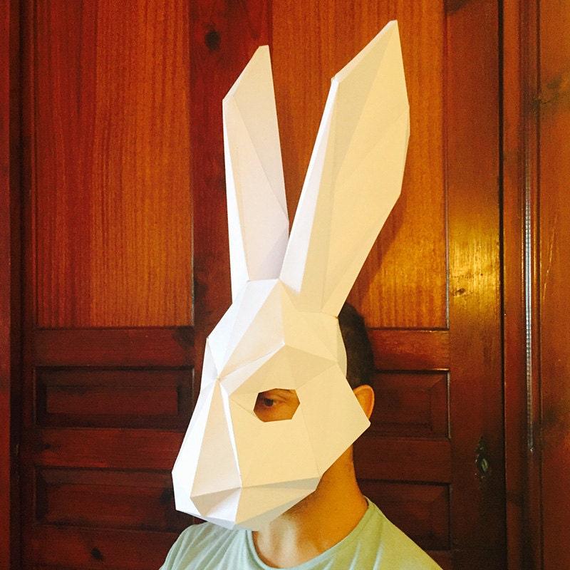 Diy Cardboard Masks: Make Your Rabbit Mask From Paper PDF Pattern Mask Polygon