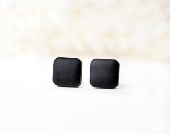 flat black earrings for men - photo #36