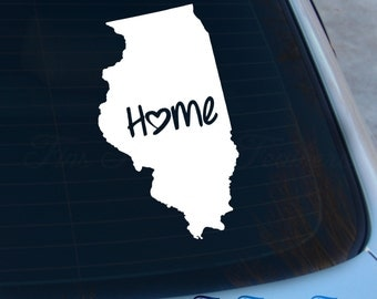 Illinois Decal - State Decal - Home Decal - IL Sticker - Love - Laptop - Macbook - Car Decal