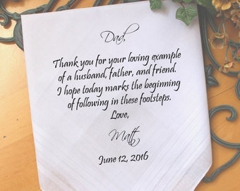Father of the Groom handkerchief from Groom, thank you for your loving EXAMPLE, custom PRINTED wedding handkerchief, Personalized. FPRI[142]