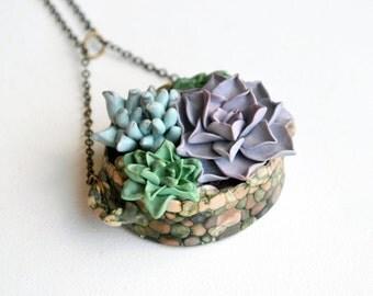 Terrarium necklace, Woodland Pendant, Botanical Succulent Pendant, Succulent necklace, Polymer clay necklace, cactus Succulent planter Pot