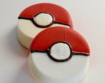 Pokemon Chocolate Dipped Oreo Favors (12), Pokemon Party, Pokemon Birthday, Pikachu Party, Pokemon Candy,  Pokemon Birthday Ideas, Pokeball