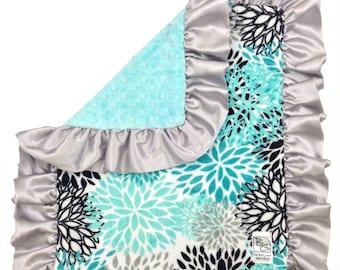 Aqua Blooms Security Blanket Aqua Tiffany Gray