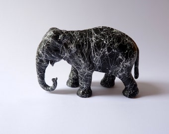 Paperweight Marble Elephant. Desk decoration vintage elephant figurine, marble effect black and white. Desk accessory, paperweight