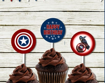 Cupcake toppers  (Captain America inspired) (DIGITAL FILE ONLY)