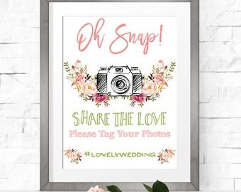 Wedding Hashtag Sign. Printable Wedding Social Media Sign - RO01