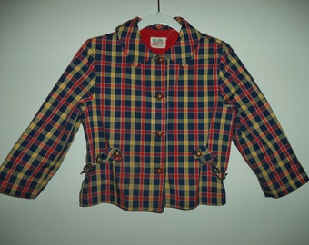 70's toddler's plaid jacket// Vintage Millbrook country cottage chic hipster cotton flannel Fall coat// Unisex baby 18- 24 mos 2T