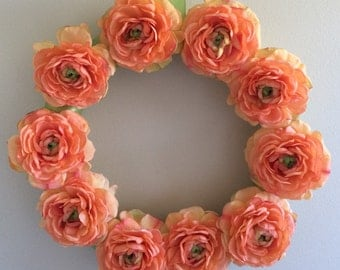 SALE / Peach Ranunculus Wreath / Ranunculus Wreath / Peach Wreath / Spring Flower Wreath / Orange Ranunculus Wreath / Orange Wreath