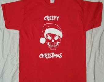 Creepy Christmas - Christmas - T-Shirt - creepy - men - red - rockabilly - psychobilly - skull - Santa Hat - skull