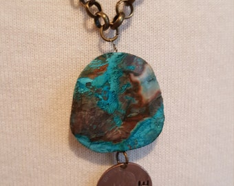 """Turquoise Stone Pendant with """"Courage"""" Stamped Coin"""