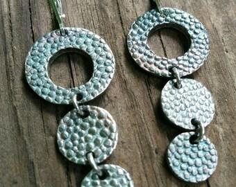 Circle Earrings Dangle Pebble Textured Fine Silver