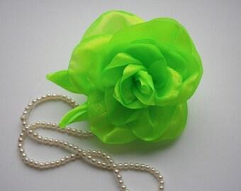 Neon Green Hair Accessories, Neon Green Flower Hair Piece, Flower Hair Clip, Bridal Accessory, Wedding Accessory, Neon Green Flower For Hair