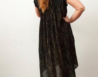 70s Black Dress Vintage Black Gold Dress Turtleneck Dress High Neck Dress Black Costume Dress Black Cotton Dress Free Size Dress  Boho Dress