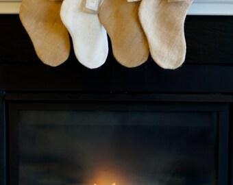 4 Seaside Blue Personalized Burlap Stocking - Cozy Christmas Decor - Personalized Name Tag - Individualized Stocking