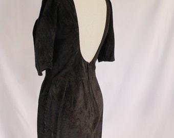 Vintage Black Sued Low Back Dress