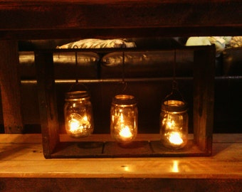 mason jar candle light!! made out of an old pepsi crate!!!