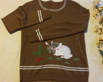 vintage bunny pull over cardi size M