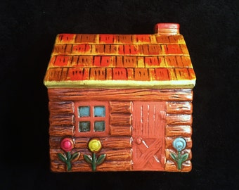 Vintage Ceramic Log Cabin Bank with Flowers