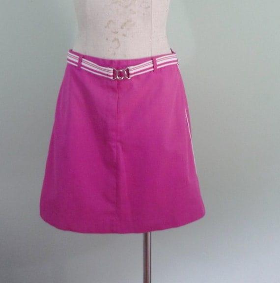 1970s-1980s Tail Tennis Skirt / Bubblegum Pink Skort / Fuchsia and White Athletic Skirt / Modern Size Medium 6 - 8