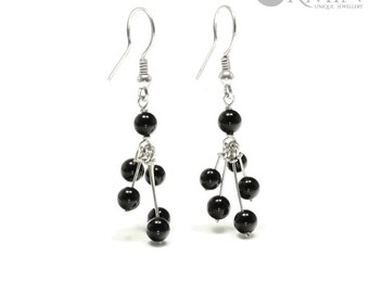 Onyx & Sterling Silver Drop Earrings 01132E, Black Onyx Jewelry, Boho Jewelry, Natural Gemstones Jewelry, Healing Crystals