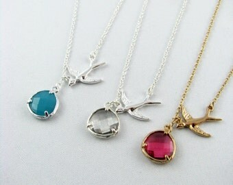 Bridesmaid Gift Charm Necklace / Swallow Necklace  / 18k Gold or Sterling Silver Bird Necklace / Bridesmade Necklace