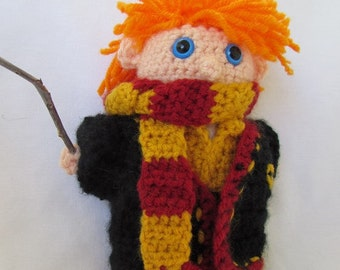 Ron Weasley Handmade Amigurumi.   Hogwarts Gryffindor Robes. Potter Fan Collectible.