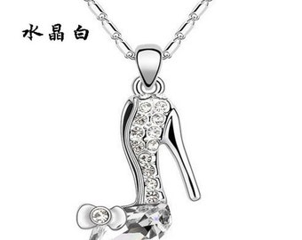 Glass Slipper Crystal Necklace and Pendant