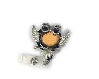 Gemstone Owl (Amber) Retractable ID Badge Holder -Owl Badge Reel-Owl Id Badge Holder-Owl Id Badge-Cute Badge Reel-Bling Badge Reel-Teacher