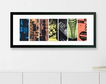 """Urban Snap Shots Hand Pulled Silkscreen Print 7.5"""" x 22"""""""