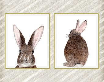 "Watercolor Rabbit digital prints: ""FOREST ANIMALS"" woodland animals Nursery Wall Decor Printable animals Room decor Animal Wall Art set of 2"