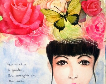 Gift for her, inspirational quote, mixed media, collage, watercolor painting, giclee art print, home decor, wall art
