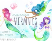 Watercolor Mermaids Clipart | Fantasy Ocean Clip Art - Watercolor Fish, Bubbles and Starfish - Two Skintones - Instant Download Digital PNGs