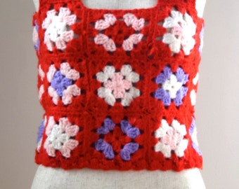 Vintage 1960's Red/Multi-Colored Crochet Jumper Top