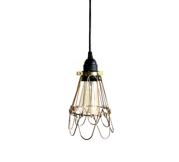 Industrial Lighting Bronze Brass Pendant Light Guard Hanging