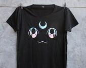 Luna Cat Sailor Moon Anime Black Shirt Holographic Size S